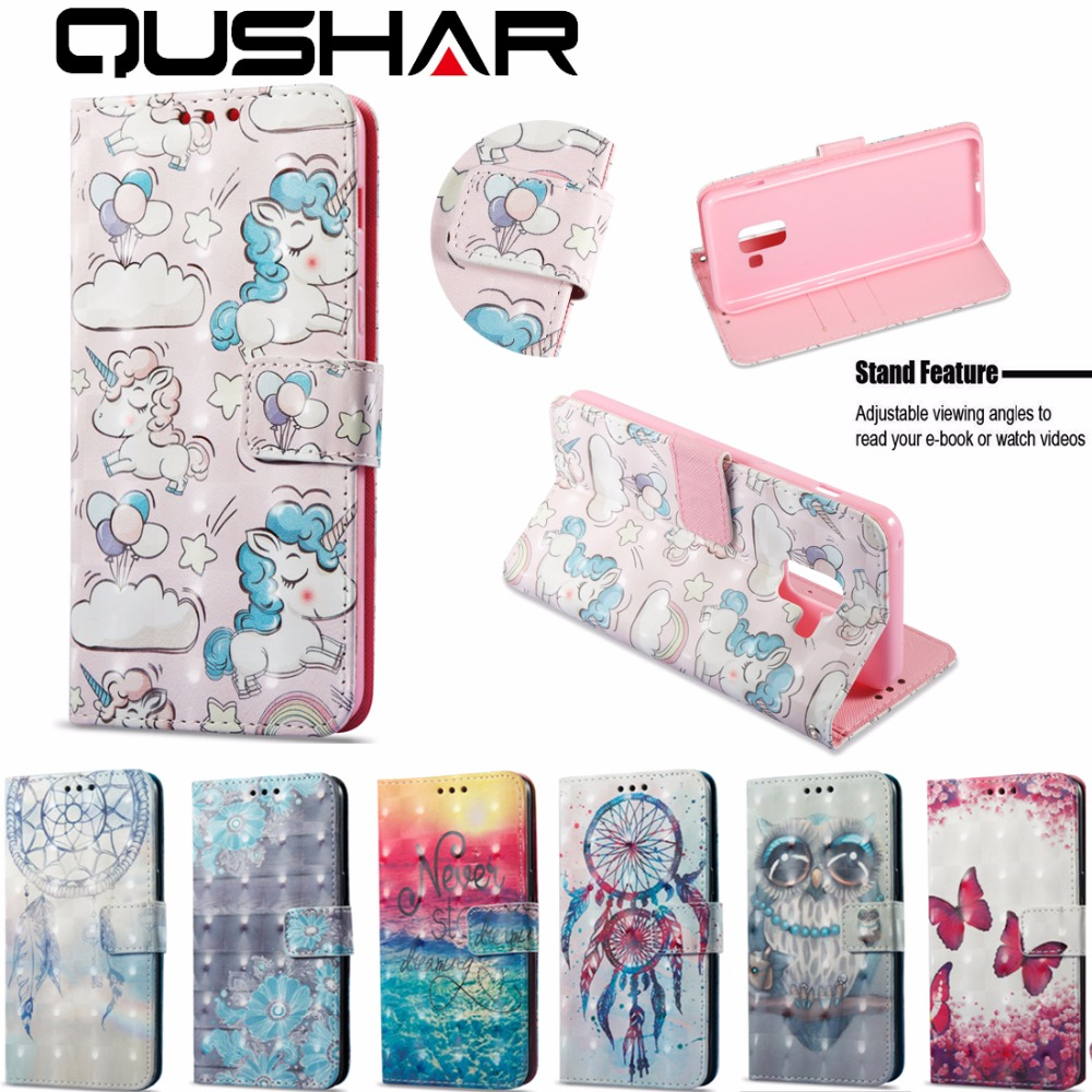 Mobile Phone Cases Covers For Samsung Galaxy A8 2018/A8 2018 PLUS PU Leather Stand Flip Bag Case Cover Wallet Cover Owl Unicorn