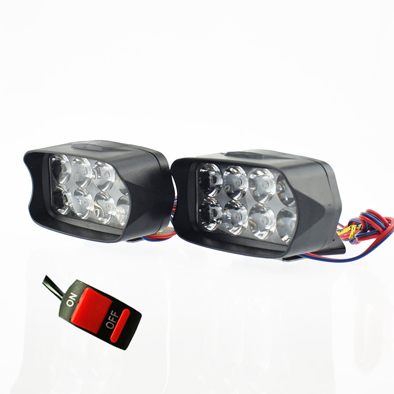 Motorcycle Headlights 12V 12w Spotlights Super Bright Moto Fog Spot Lamp Waterproof Motorbike Auxiliary Driving Lights Headlamp