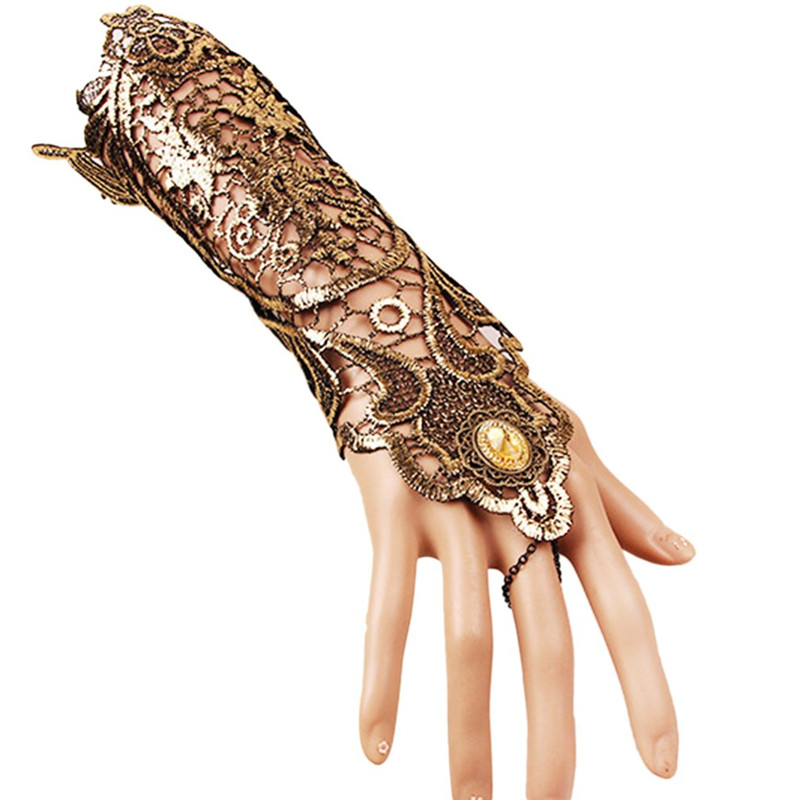 Women Sunscreen Steampunk Style Lace Fingerless Long Gloves Lace Hollow-Out Chain Summer Skid Resistant Goth Party Costumes