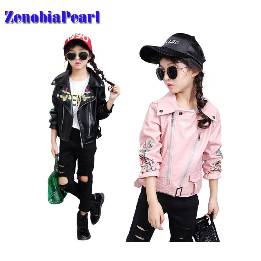 ZenobiaPearl Spring Kids Jacket PU Leather Girls Jackets Clothes Children Outwear For Baby Girls Boys Clothing Coats spring autumn kids jacket pu leather boy jackets clothes children outwear for baby boys jackets 893