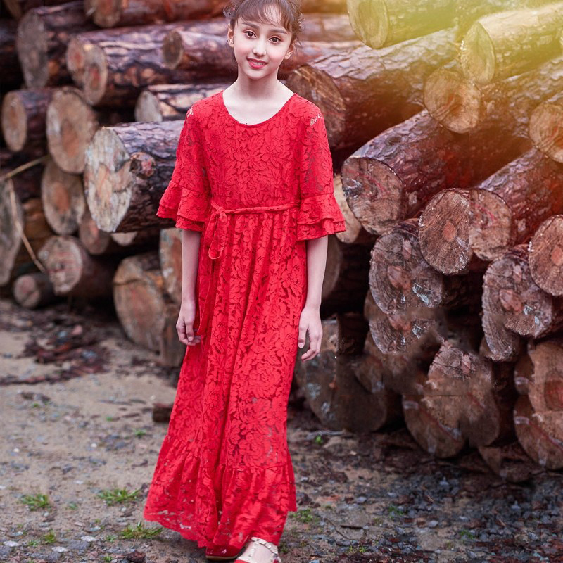 2018 Princess Girls Party Evening Dress Elegant Noble Clothes Red Lace Crochet Delicate Design Age56789 10 11 12 13 14 Years Old цены онлайн