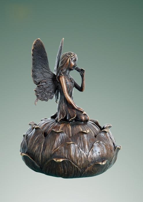 الفنون والحرف النحاس الرجعية الأوروبية المجوهرات مربع تأثيث حورية الجان التماثيل البرونزية تمثال لوتس النحت للديكور المنزل