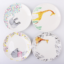 8 Pulgadas Animales Plato Hogar Pastel De Cerámica Platos de Porcelana Pastelería Fruta Bandeja De Carne Del Norte Europa Pop Vajillas