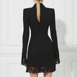 Image 2 - Adyce gabardina ceñida para mujer, abrigos negros con cuello en V profundo, abrigos de doble botonadura, abrigos de manga larga con borla a la moda para discoteca 2020