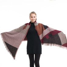 200*70 Cm Winter Scarf Korean Version Women Cashmere Plaid Shawl Warmth Thickening Tassel Christmas Plus Size Sweater