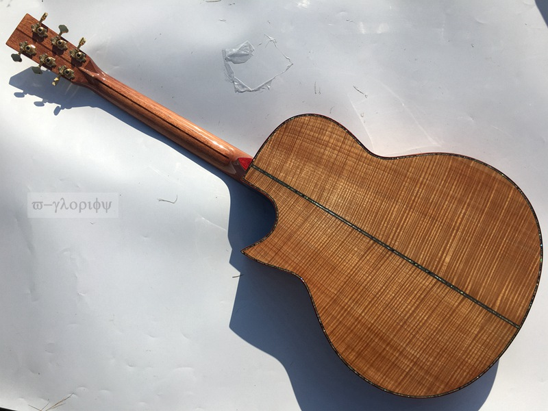 solid flame maple wood acoustic guitar with free hard case free shipping hand made full solid wood acoustic guitar with free hard case free shipping