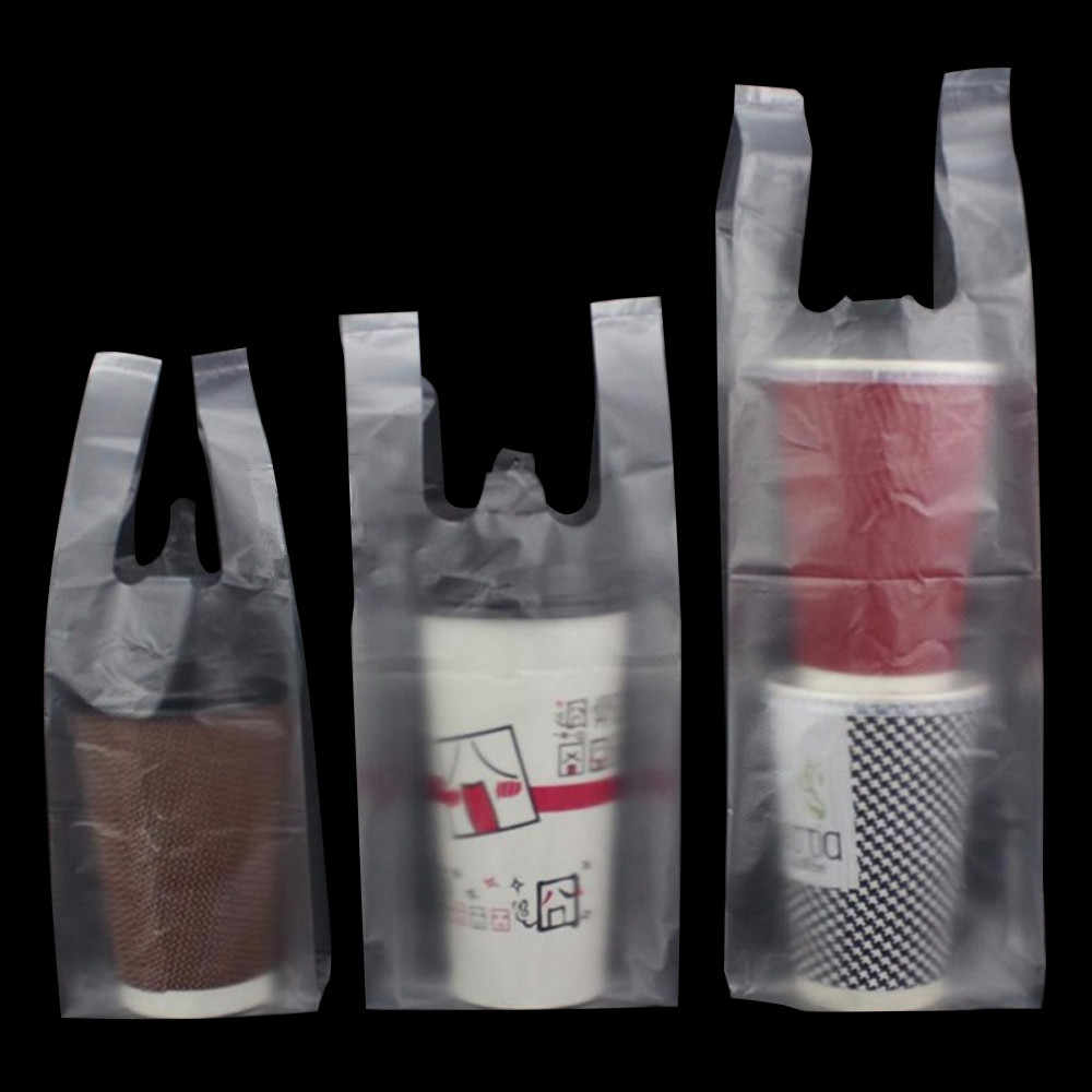200Pcs/Lot Clear Plastic Coffee Tea Cup Packaging Bag Glossy / Embossed Beverage Cola Drinking Take Out Carrier Handle Poly Bags