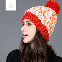 2016 New Arrival Winter Hat For Lady Dress 3 Colors Available Knitted Cap Lovely Ball Beanies Hat Free Shipping Item YF101101
