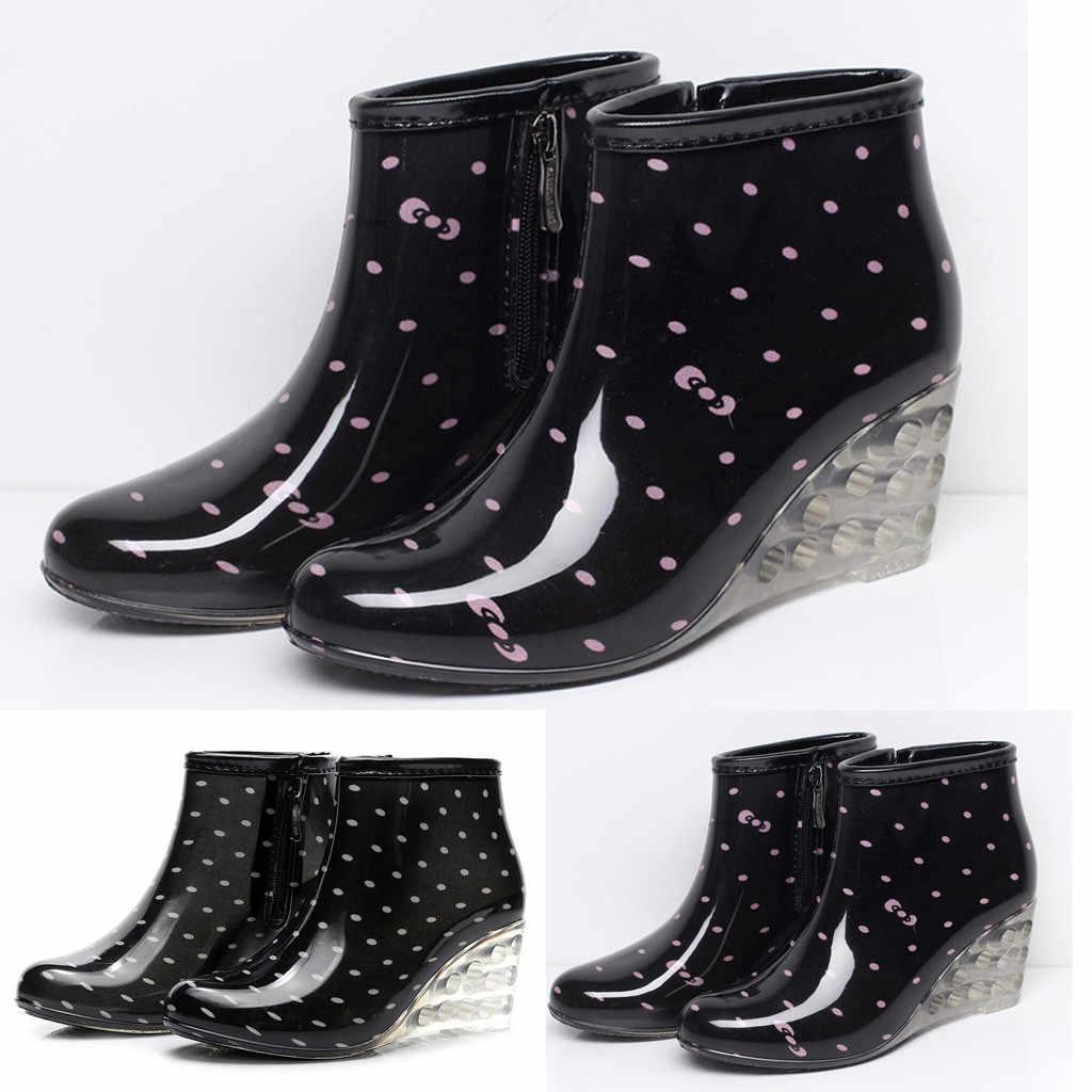 Kadın yağmur çizmeleri takozlar kısa tüp yağmur çizmeleri kaymaz su geçirmez su ayakkabısı gumboots nokta baskı yüksek topuk galoş femmes