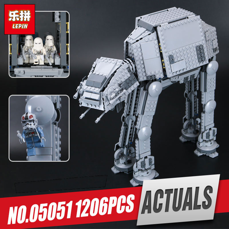 все цены на LEPIN 05051 Star kit wars The Force set Awakens AT toy AT Model Educational Building Kit Blocks Bricks Compatible legoing 75054 онлайн