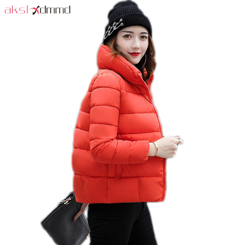 AKSLXDMMD Parkas Mujer Short Winter Jacket Women 2017 New Fashion Thick Padded-cotton Short Coat Female Overcoat LH1090 akslxdmmd parkas mujer 2017 new winter women jacket fur collar hooded printed fashion thick padded long coat female lh1077