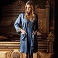 Ansi feminino de seda de seda robe twinset 020032 240122 salão de manga comprida