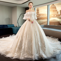 Wedding dress 2019 bride Sen's long sleeves, tail tailed large size pregnant women show thin shoulder French Hepburn