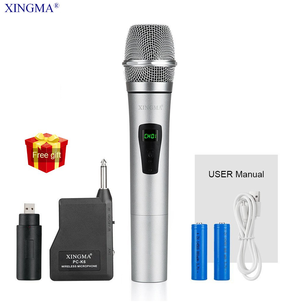 XINGMA PC-K6 Wireless Microphone Karaoke Professional Studio Vhf Dynamic Handheld Mic For Computer Pc KTV System With Receiver
