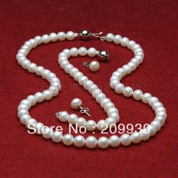 huij 002183 set AAA + 8-9mm white fresh water cultured pearl necklace bracelets earrings