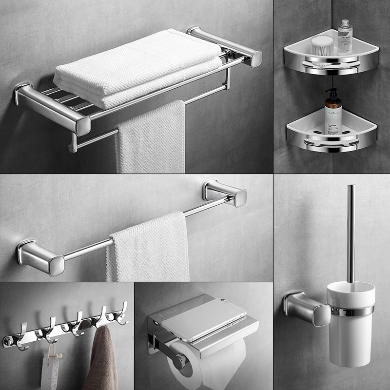 купить Towel Rack 304 Stainless Steel Corner Rack Bathroom Hardware Set Bathroom Accessories Foldable Towel Rack Bathroom Shelves по цене 4990.34 рублей