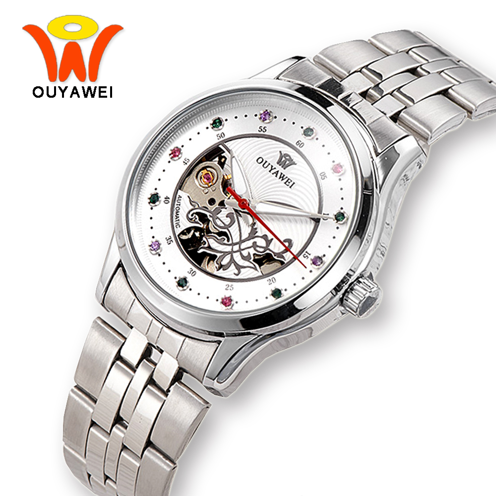 OUYAWEI Silver Stainless Steel Automatic Mechanical Skeleton Watch Women Dress Style Wrist Watches For Fashion Ladies Girls cocoshine a 511 russian skeleton automatic watches for men silver stainless steel wrist watch wholesale free shipping