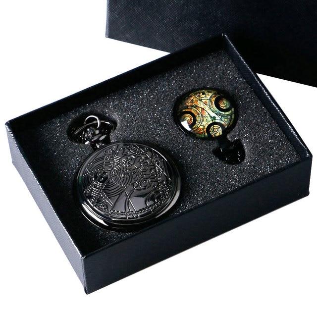 2017 1 set Vintage Fashion Doctor Who Pocket Watch Necklace Luxury Classic Pendant Gift Box Chain Men Lady  YISUYA211