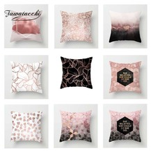 Fuwatacchi Geometric Cushion Cover Pink Letter  Soft Throw Pillow Decorative Sofa Case Pillowcase