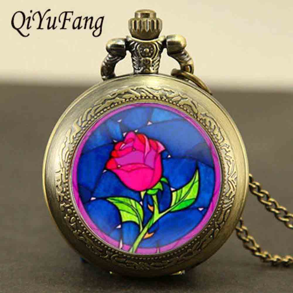 Steampunk beauty and the beast rose reloj de bolsillo collar 1 unids - Bisutería