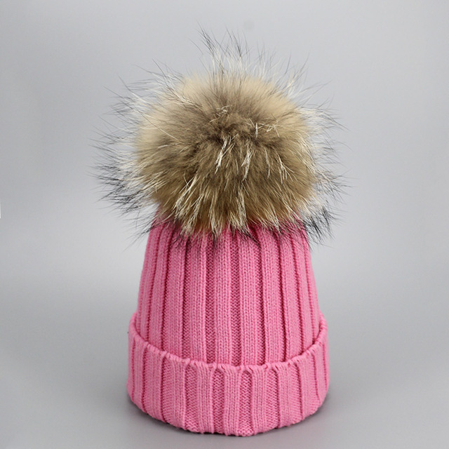 aea4cb79e7a Προϊόν - Real Fur Winter Hat Raccoon Pom Pom Hat For Women Brand ...