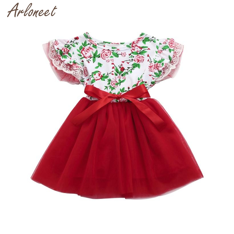 2018 summer dress baby Girls Infant Toddle Floral Lace Tutu Sleeveless Clothes Princess Dress FEB6