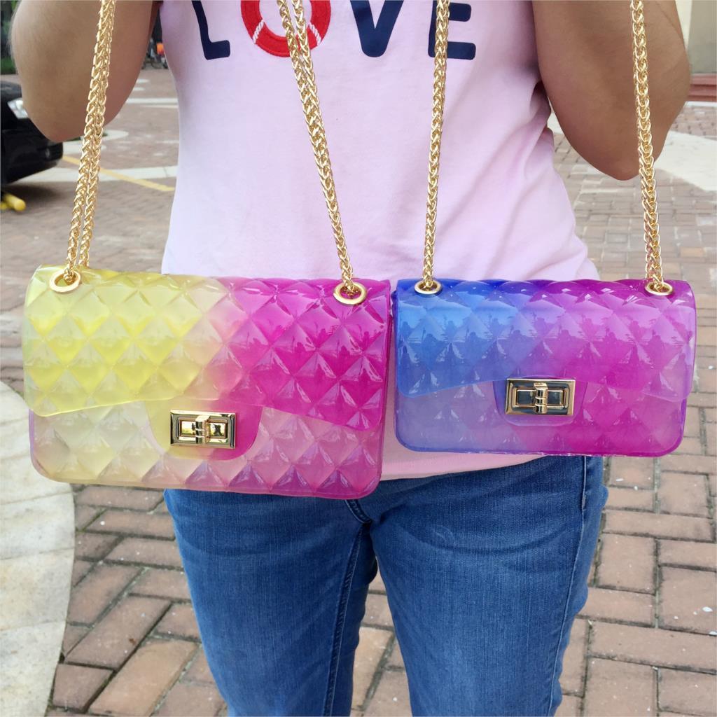 Chain Diamond lattice Transparent jelly bags for women trend pattern Envelope bag square shoulder bag ladies handbag crossbody