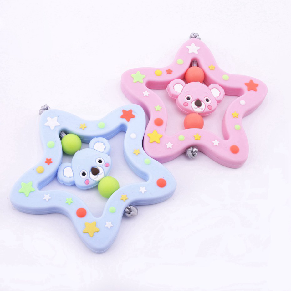 Bite Bites Cartoon Animal Koala Teether Biting For Baby Infant Rattle Toy Silicone Teething Star Handbell Jingle Baby Teether