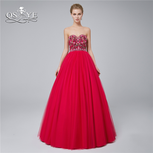 6c4e42bd08c QSYYE 2018 New Long Prom Dresses Sweetheart Beaded Lace Flower Floor Length  Tulle Formal Evening Dress Party Gown Custom Made