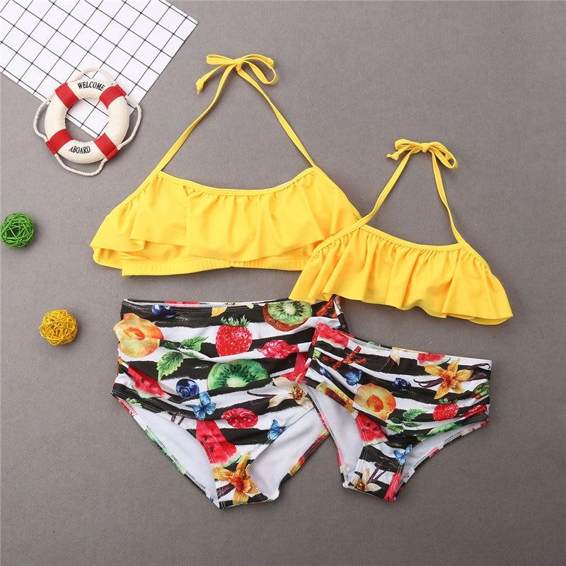 Family Matching Swimwear Mother Father Kids Fruits Swimsuit Women Girls Bikini Men Boys Striped Trunks Swimming Suit Beachwear