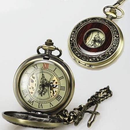 a597af07b6c ᐅRetro Bronze Madeira Mecânico Esqueleto do Relógio de Bolso - a610
