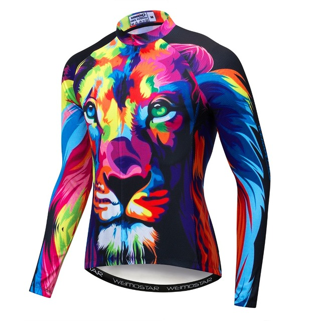 85cde260b 2019 Autumn Men s 3D Wolf Tiger Lion Cycling Jersey Long Sleeve MTB Racing  Clothes Bike Shirt Top Bicycle Maillot Ropa Ciclismo