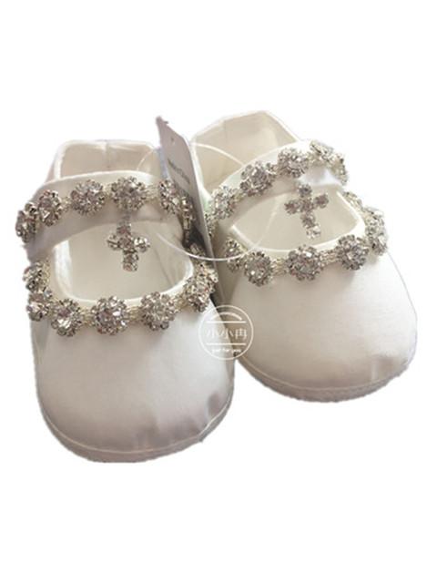 WOW Bebê Menina Sapatos Primeiro Walkers DO BEBÊ Cruz de Cristal Do Bebê Batismo Das Meninas Vestidos para Festa De Casamento 90226