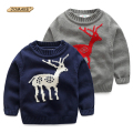 New Year Christmas Boys Clothes Cartoon Deer Pattern Boys Knitted Sweater Kids O-Neck Pullover Brand Designer Children Clothing
