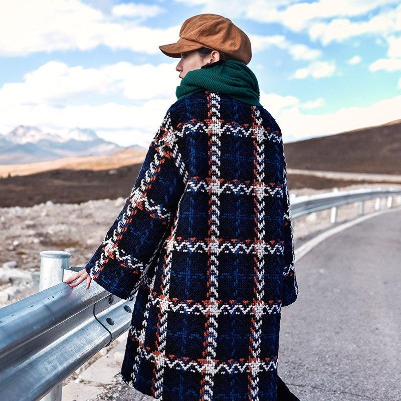 Manteau Casual Longs Hiver Pardessus Patchwork Laine Automne Femme Pour De Luxe À Veste gris Manteaux Wm258 Carreaux Bleu Cachemire Épaisse Nouveau En Femmes NZP0kXw8nO
