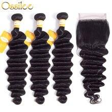 Ossilee – mèches malaisiennes Remy, cheveux naturels, Loose Deep Wave, avec Closure, lots de 3