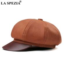 LA SPEZIA Women Octagonal Cap Genuine Leather Orange Newsboy Caps Men Casual Real Luxury Brand Classic Eight Piece Hats