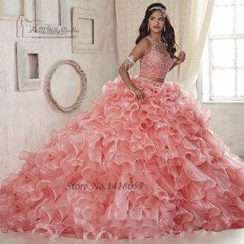 75abf3836 Dulce 16 vestidos baratos 2 piezas Quinceañera vestidos 2017 Vestido de  Debutante Para 15 anos Rosa cristales vestidos de baile Vestido 15