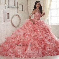Sweet 16 Dresses Cheap 2 Piece Quinceanera Dresses 2017 Vestido de Debutante Para 15 anos Pink Crystals Ball Gowns Dress for 15