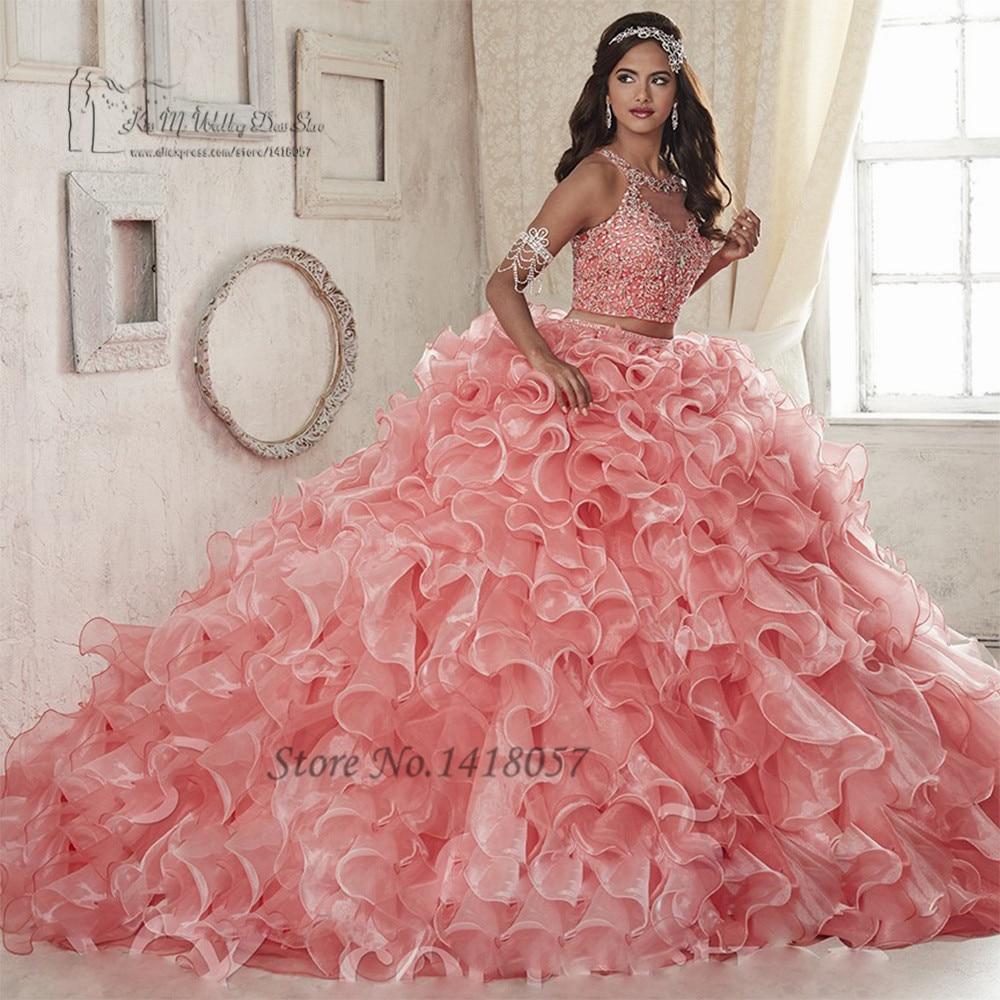 Sweet 16 robes pas cher 2 pièces Quinceanera robes 2017 Vestido de Debutante Para 15 anos rose cristaux robe de bal pour 15