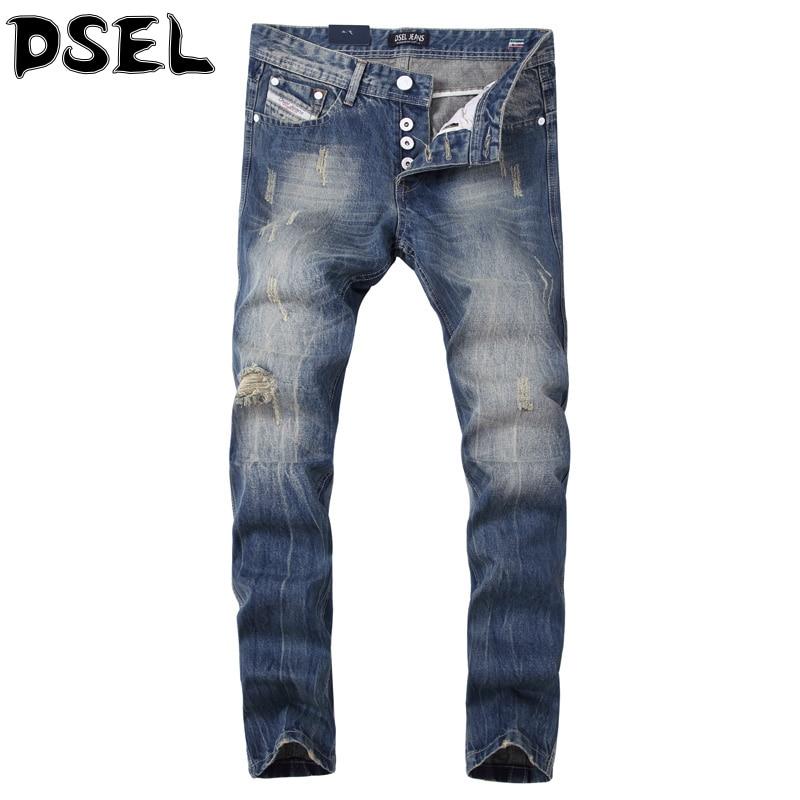 Blue Color Denim Stripe Jeans Mens Pants High Quality Slim Fit Destroyed Ripped Jeans For Men DSEL Brand Biker Jeans Plus Size streetwear mens jeans ripped denim full pants new famous brand biker jeans men high quality slim patch jeans plus size 1604