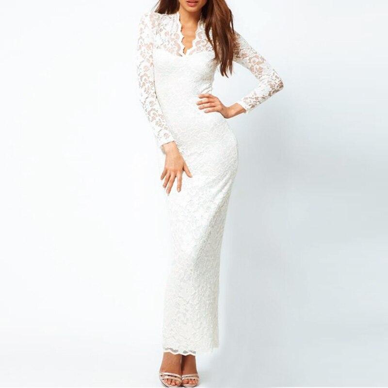 Fashion Ladies Sexy V-Neck Slim Scallop Neck Lace Apparel Women Maxi Dress Long Sleeve Wedding Evening White / Black / Dark Blue