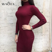 WAQIA Women Autumn Winter Sweater Knitted Dresses Slim Elastic Turtleneck Long Sleeve Sexy Lady Bodycon Robe Dresses Vestidos(China)