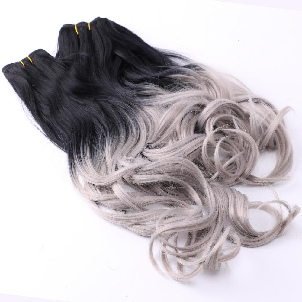 Black To Dark Grey Ombre Color Hair Bundles 3 Pieces High Temperature Synthetic Hair Extension For Women