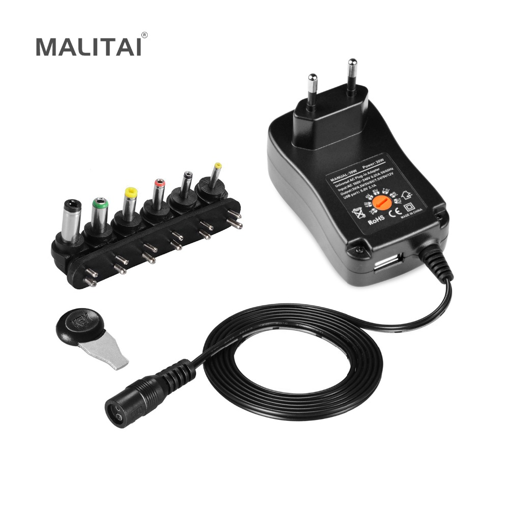 Universal AC 100-220 V à DC 3 V-12 V LED Driver Alimentation Adaptateur chargeur + 5 V 2.1A USB Port Avec 6 X Jack Connecteur UE Plug