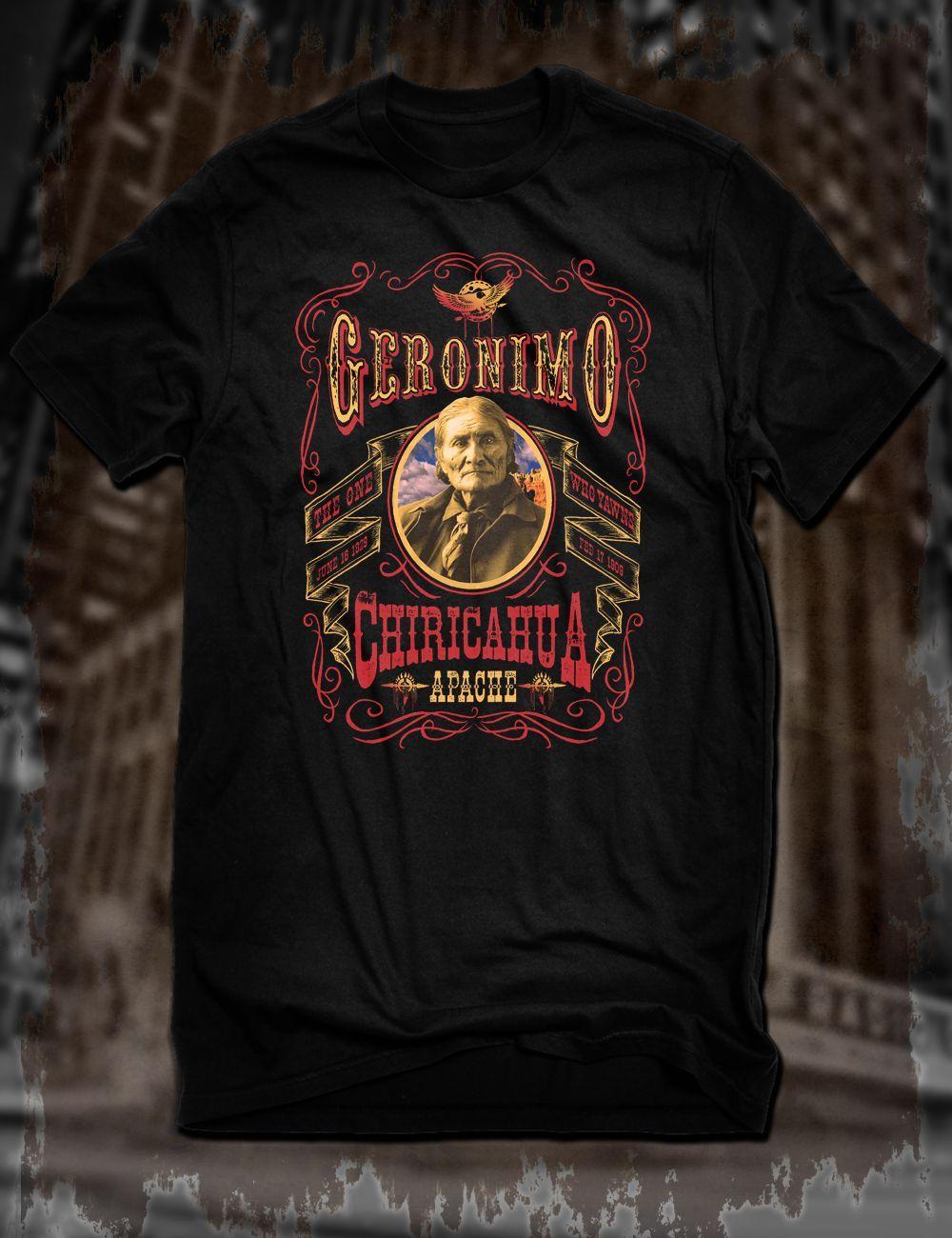 New Black Geronimo T-Shirt Native American Leader Tee Chiricahua Apache Old West