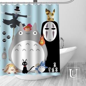 Image 2 - מסע של Chihiro מקלחת וילונות אמבטיה מותאמת אישית וילון אמבטיה עמיד למים בד פוליאסטר מקלחת וילון 1pcs מותאם אישית