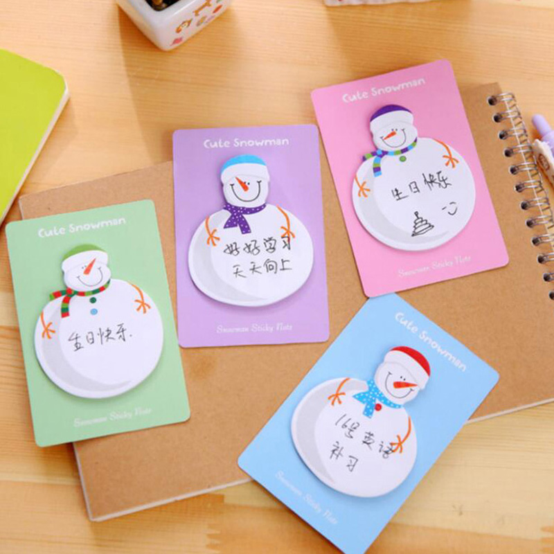 20 Sets/lot Cute Snowman Shape Christmas Gift Planner Stickers Office Kid Sticky Notes Memo Pad Post It Office School Supplies