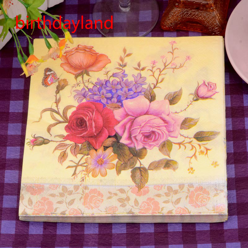 20pcs butterfly flower theme napkins paper servilletas