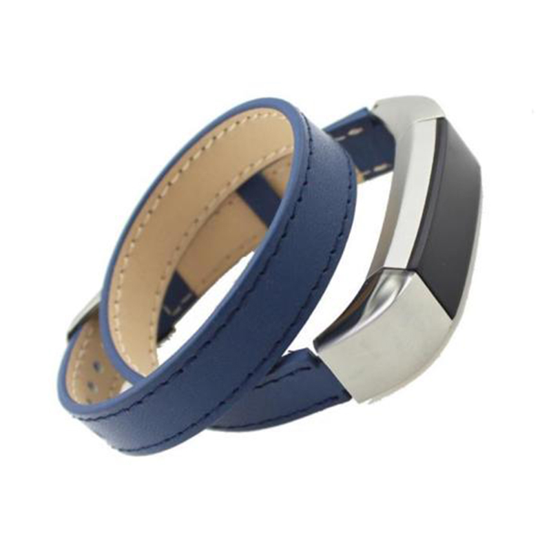 Replacement Genuine Leather Band Strap Bracelet For Fitbit Alta Fitness TrackerColour:Blue (Double Tour)